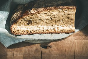 Rustic French rye bread loaf