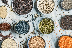 Uncooked grains, beans & cereals