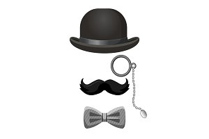 Vintage gentleman set in black and grey colors
