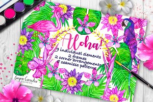 Alloha clipart and seamless patterns