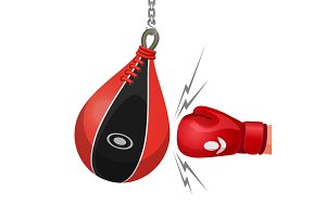 Boxing glove hits punching bag vector illustration isolated