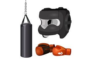 Boxing equipment punchbag on chain, protective headgear mask, leather gloves