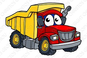 Cartoon Dump Truck Character