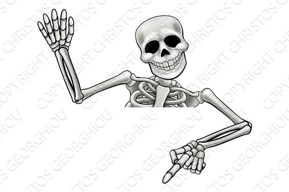 Skeleton Pointing And Waving