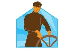 ship captain helsman steering wheel
