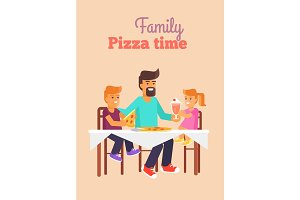 Family Pizza Vector Illustration in Fathers Day