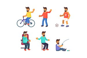 Cheerful Man Lives Active Life Vector Illustration