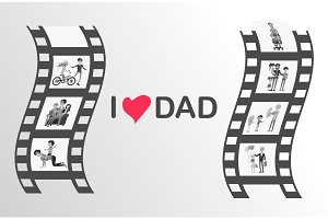 Happy Father's Day Moments on Black Film Reel