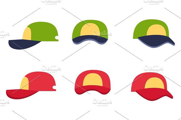 Baseball Cap Collection Front Back And Side View
