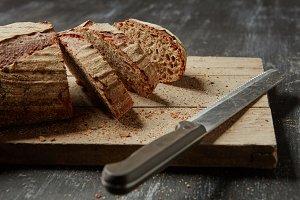Fresh rye bread with knife