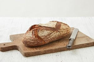 Fresh oval organic bread