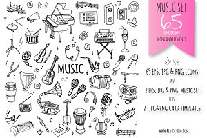 65 Music hand drawn elements set!
