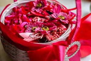 Dark pink  flowers and berries