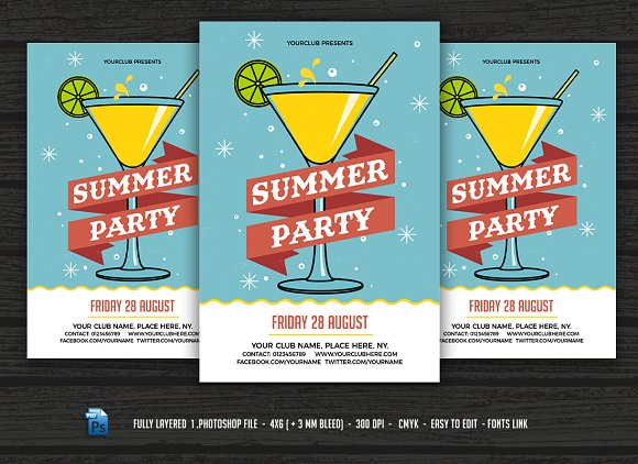 Summer Party Cocktail Party Flyer