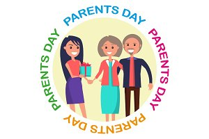 Parents' Day Banner Showing Happy Family