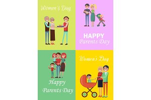 Set of Congratulation Cards for Family Holidays