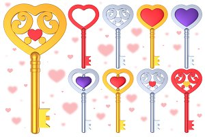 Heart Shaped Key 3D