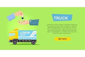 Renting Truck Online. Car Sale. Web Banner. Vector