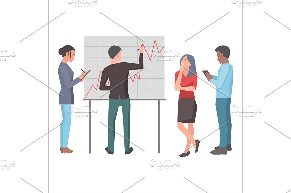 Teamwork And Startup Project Isolated Illustration