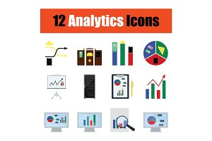 Flat design analytic icon set