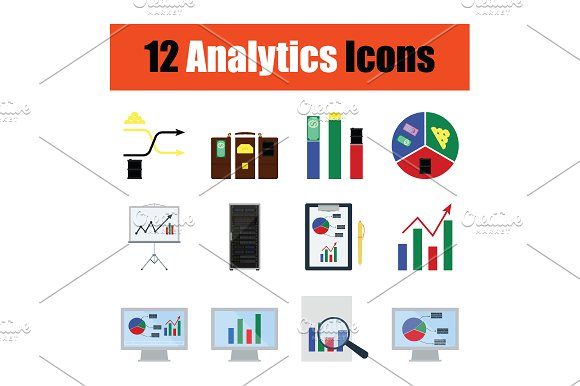 Flat Design Analytic Icon Set