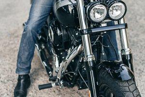 Closeup motorcycle detail headlight