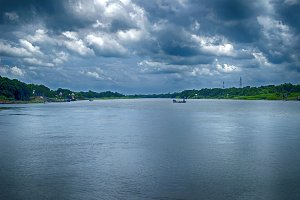 River with cloudy sky