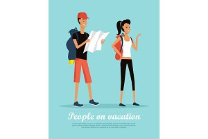 People on Vacation Conceptual Flat Vector Banner