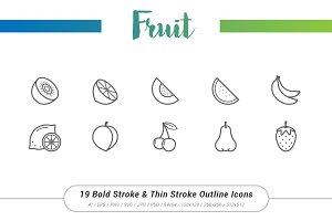 19 Fruit Outline Stroke Icons