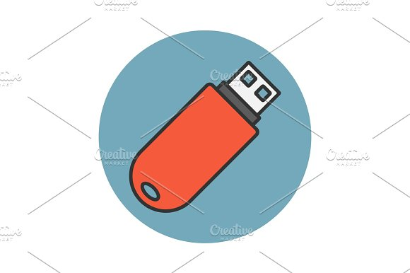 Flash Drive Flat Line Icon