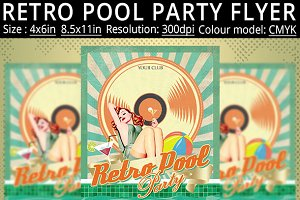 Retro Pool Party Flyer Poster