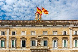 Catalan and Spain flags, Barcelona, Spain