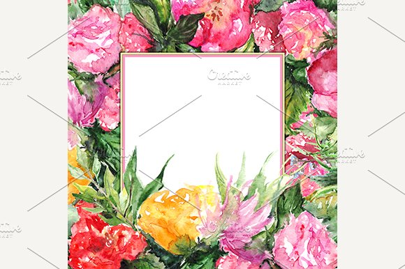 Watercolor Floral Frame Border
