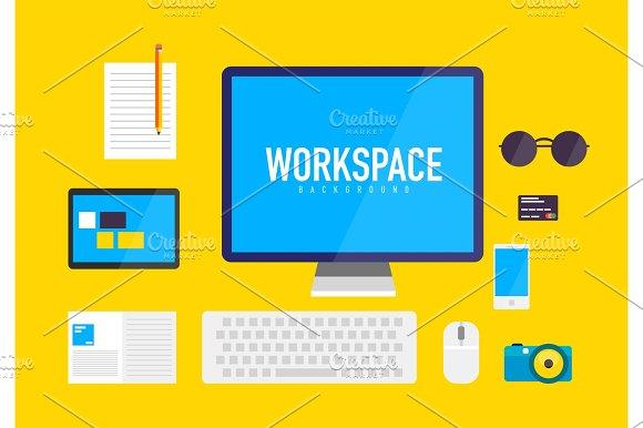 Flat Design Workspace Background