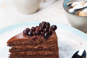 Chocolate cake with tea.