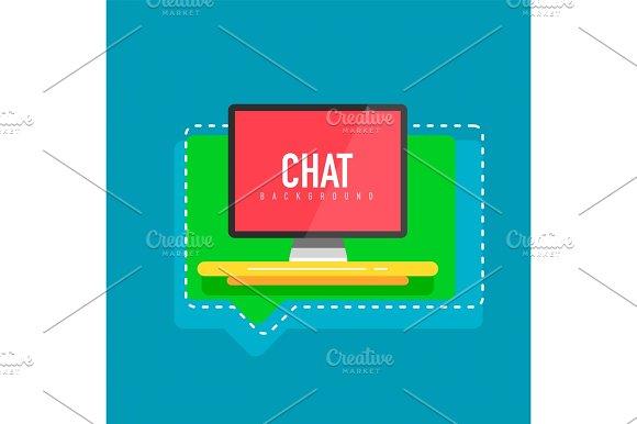Flat design computer screen with speech bubbles