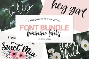 Feminine font bundle, smooth cutting