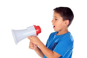 Cute child with a megaphone