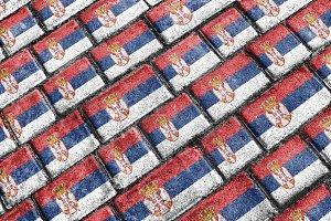 Serbia Flag Urban Grunge Pattern