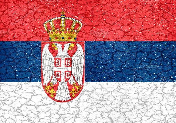 Serbia Grunge Style National Flag