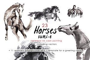 Horses Sumi-e