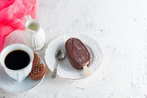 Ice cream in milk chocolate