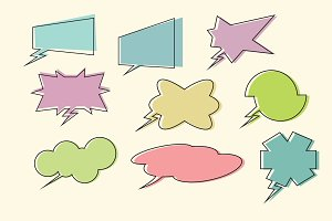 set comic book speech bubbles