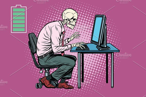 Skeleton Worker Working On Computer