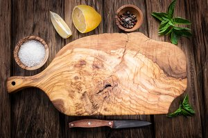 Olive cutting board and spices