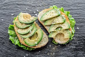 Avocado slices on the toasted bread