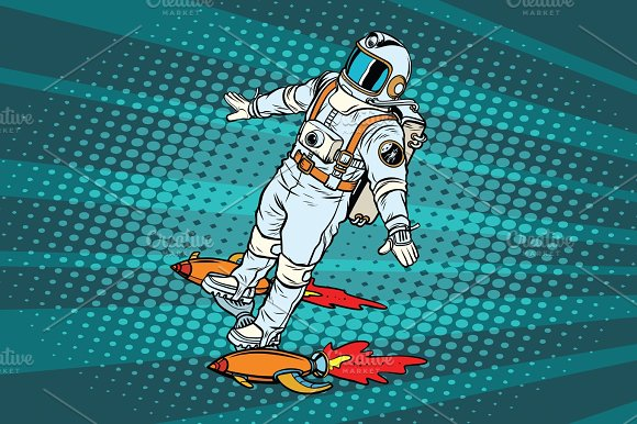 The Astronaut Is Flying On A Space Rocket Skateboard