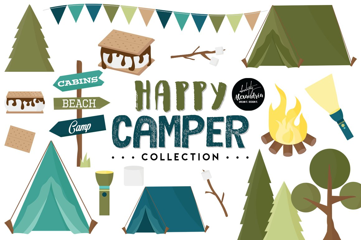 Happy Camper Graphics Patterns Illustrations Creative Market