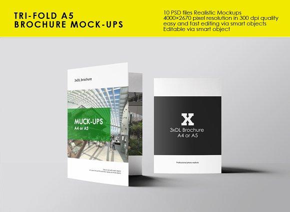 tri fold a5 brochure mock ups product mockups creative market