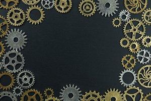 metelic gear on black
